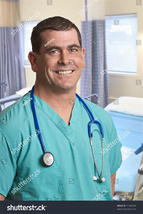 Smiling Handsome Doctor Man Hospital Stock Photo 71406556