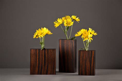 Macassar Ebony Bud Vases by David Kiernan (Wood Vase