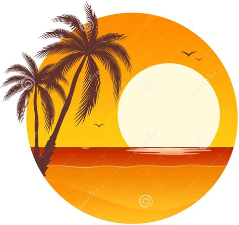 Library of palm tree sunset vector black and white stock
