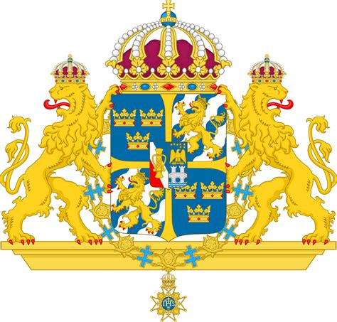 File:Great coat of arms of Sweden (without mantle)