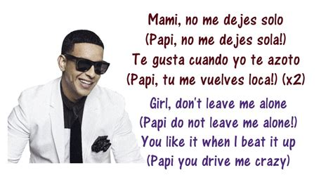 Daddy Yankee - No Me Dejes Solo Lyrics English & Spanish