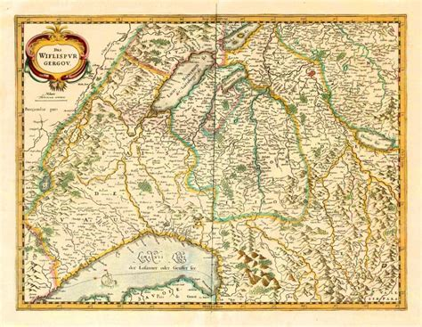 Old antique map of Avenches, by Henricus Hondius