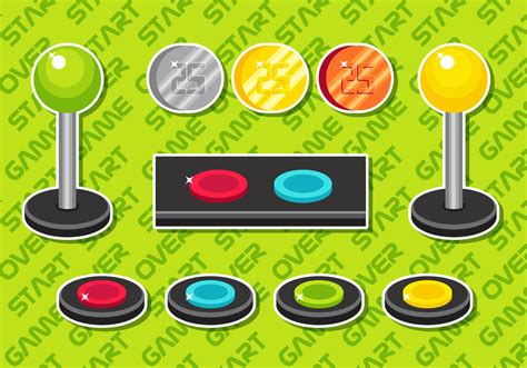 Arcade Button Vector Elements Set B - Download Free Vector