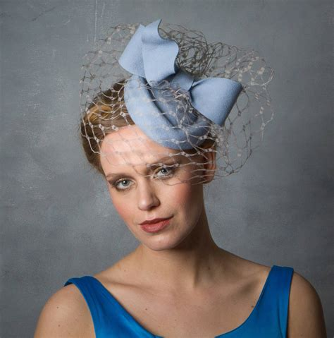 baby blue pillbox hat with bow by sahar millinery