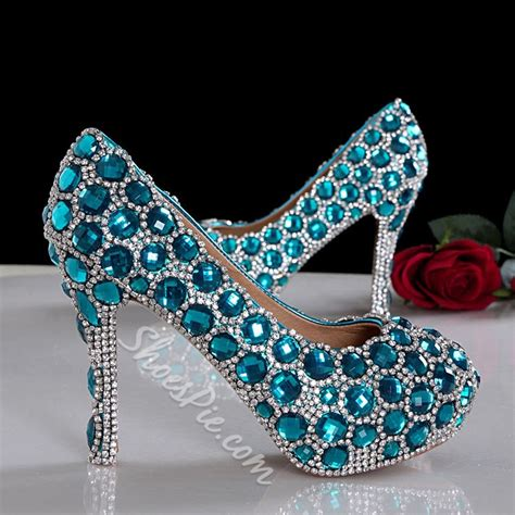 Fashion Extravagant Blue Crystal Prom Shoes- Shoespie