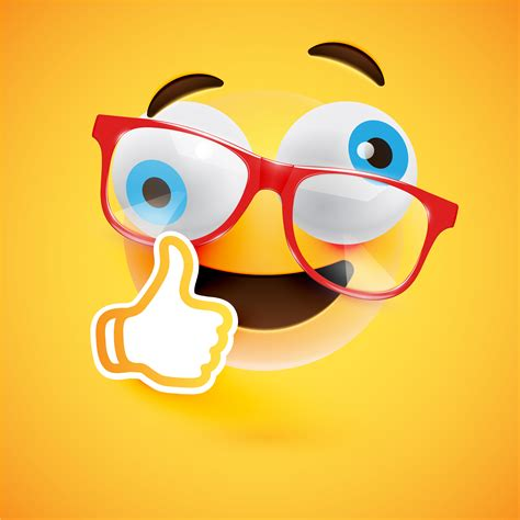 Emoticon with thumbs up, vector illustration - Download