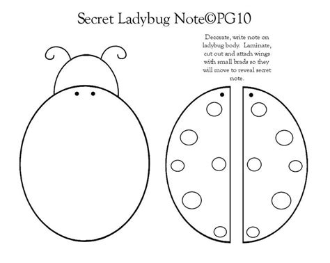 Ladybug note template I made | Bird template, Secret notes