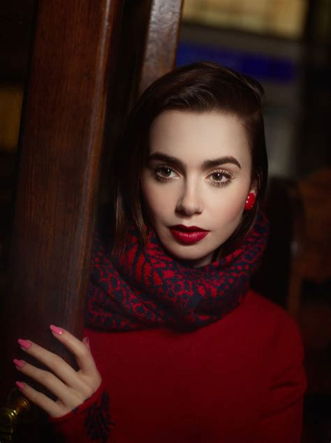 LILY COLLINS – Barrie Knitwear Collection Photoshoot by