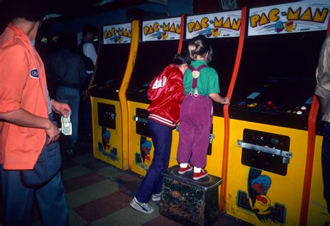 A collection of photos of 80s video arcades